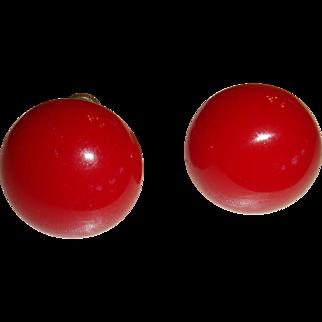 Vintage True Cherry Red Domed Button Bakelite Earrings Screw Back