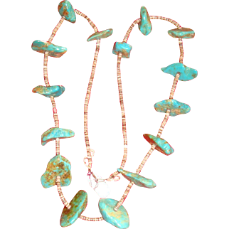 Natural Turquoise Large Nuggets and Heishi Beads Long Necklace IL Estate