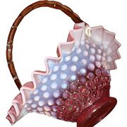 Old Fenton Hobnail Basket Opalescent Pink, Rose, Cranberry