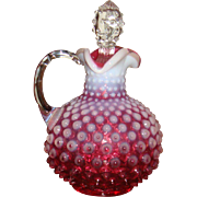 1950's Fenton Hobnail Cranberry Opalescent Cruet Clear Hobnail Glass Stopper TN Estate