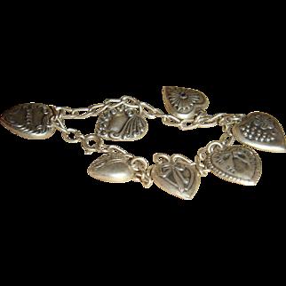 Sterling Silver Puffy Heart 7 Charm Bracelet 1940's