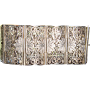 800 Silver Art Deco Filigree Bracelet Lacy Filigree