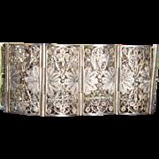 800 Silver Art Deco Filigree Bracelet Lacy Filigree