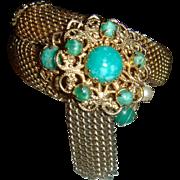 Vintage Wrap Around Mesh Bracelet Faux Jade, Pearl Cabochons, Tassels, Filigree Setting