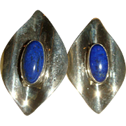 Sterling Silver Blue Lapis Cabochon Modernist Post Earrings 95