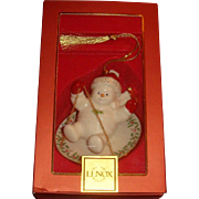 New In Box Vintage Lenox Snowman on Holiday Plate Christmas Ornament