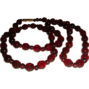 27 Inch Deep Garnet Red Faceted Glass Necklace Barrel Clasp
