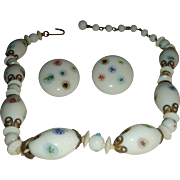 Japan Painted Glass Beads Decorative End Caps Choker Necklace Clip Earrings