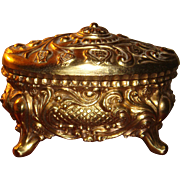 Large and Heavy Repousse Gold Plated Jewelry Casket Queen Anne Legs