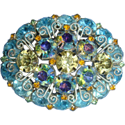 Juliana Scroll Work Oval Dimensional Brooch Shades of Blue, AB and Citrine Yellow