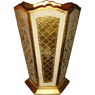Tall Florentine Wood Gold Gesso Waste Basket Trash Can Made in Italy