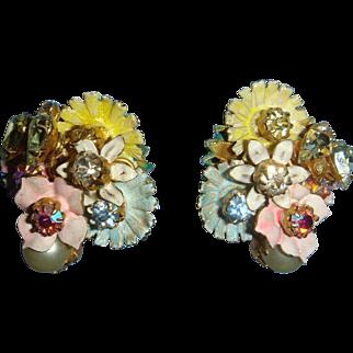 Robert Dimensional Earrings Enameled Flowers, Pearls, Rhinestones,