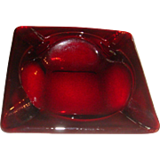 Large Size Ruby Red Fire King Anchor Hocking Nesting Glass Ashtray