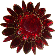 1950s Judy Lee Large Dimensional Figural Red Flower Brooch
