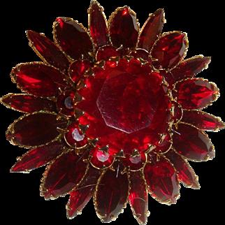 1950s Judy Lee Large Dimensional Figural Red Flower Brooch