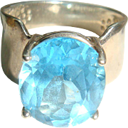 Size 6 Wide Shank Sterling Silver Topaz Blue Ring