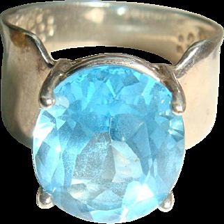 Size 6 Wide Shank Sterling Silver Topaz Blue Ring