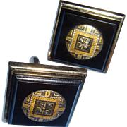 Mid Century Black Gold and Silver Tone Swank Cufflinks 1 Inch Square