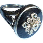 Black Onyx or Enamel Inlay and Marcasite Sterling Silver Ring Size 7