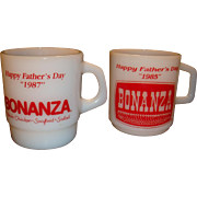 Two Bonanza Steak House Advertising Mugs Happy Father's Day 1985 and 1987