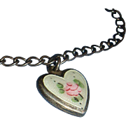 Guilloche Enamel Sterling Puffy Heart Charm Bracelet