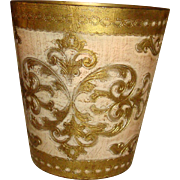 Pale Pink Florentine Gold Gesso Wood Waste Basket Trash Can Italy #1 of 2