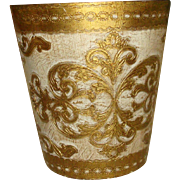 Florentine Wooden Gold Gesso Waste Basket Trash Can Made in Italy #2 of 2