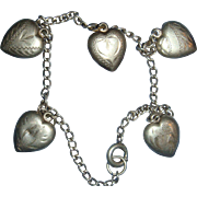 Tiny Puffy Heart Bracelet 5 Etched, Engraved Charms, Sterling Silver