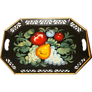 Heavy Fruit and Vegetables Tole Painted Tray Gold Gilded Edges Reticulated Border