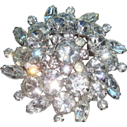 Huge Dimensional Vintage Glistening Clear Rhinestone Brooch Prong Set Round, Marquise Stones Large and Small