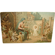 Jesus as a Lad Postcard, Mary, Joseph, Angels Playing, Lamb
