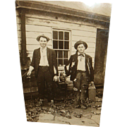 Two Cool Dudes in their Hats and Tattered Suits Real Photo Picture Postcard