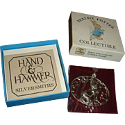 Sterling Silver Easter Bunny Beatrix Potter Hand & Hammer Collectible 1990 Original Box, New in Package