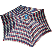 Red, White, Blue Patriotic Plaid Umbrella Parasol for Small Doll
