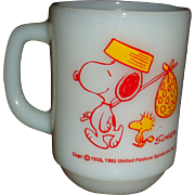 Anchor Hocking Fire King Snoopy Come Home Mug With Woodstock
