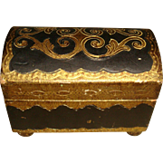 Black and Gold Gesso Wooden Florentine Trunk Box Made in Italy
