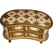 Florentine Italian Two Drawer Wooden Gold Gesso Chest on Legs Turquoise, Cream, Doll Size, Jewelry Box