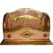 Florentine Wooden Desk Letter Organizer Made in Italy Gold Gesso Pink, Red and Turquoise