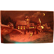 Bright Be Your Christmas Hold To Light Postcard Made in Germany