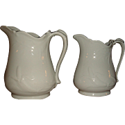 John Wedgwood 1850's White Ironstone Corn and Oats Pitchers 2 Sizes