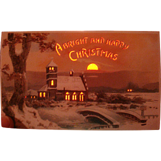 Near Perfect Early Hold To Light A  Bright and Happy Christmas Postcard