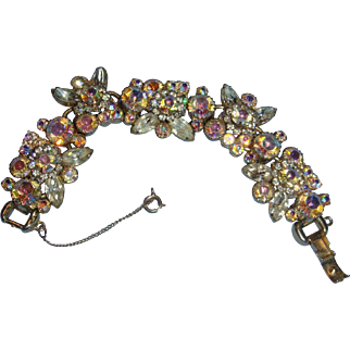 Wide and Chunky Juliana Bracelet Huge Round Aurora Borealis Stones, Clear Marquis or Navettes Clear Crystals