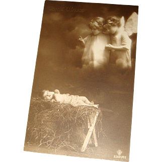 Early Italian Real Photo Christmas Postcard Baby Jesus in Manger With Angels Above