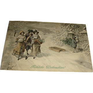 Vienne Austria Merry Christmas Tinted Postcard M. Munk Early 1900's
