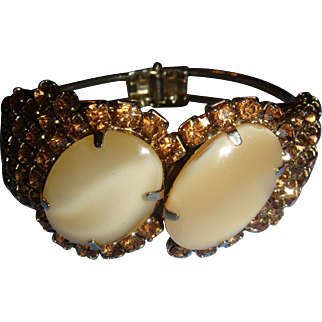 Classic Juliana Clamper Bracelet Large Butterscoth Givre Cabochons, Amber or Topaz Chaton Rhinestones