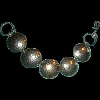 Vintage Hammered Sterling Silver Bracelet 5 Domed Discs Hook and Eye Closure