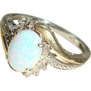 10K Gold Sterling Silver Opal Ring Size 7