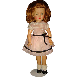 Ideal Vinyl 1950's 12 Inch Shirley Temple Doll,  Rosy Cheeks, Dimples, Sleep Eyes KY Estate