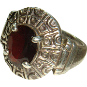 Tribal or Native American Design Sterling Silver Garnet Red Ring Size 6 1/4