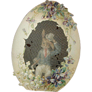 Easter Mechanical Die Cut Egg With Peter Rabbit Behind Screen, Lily of the Valley